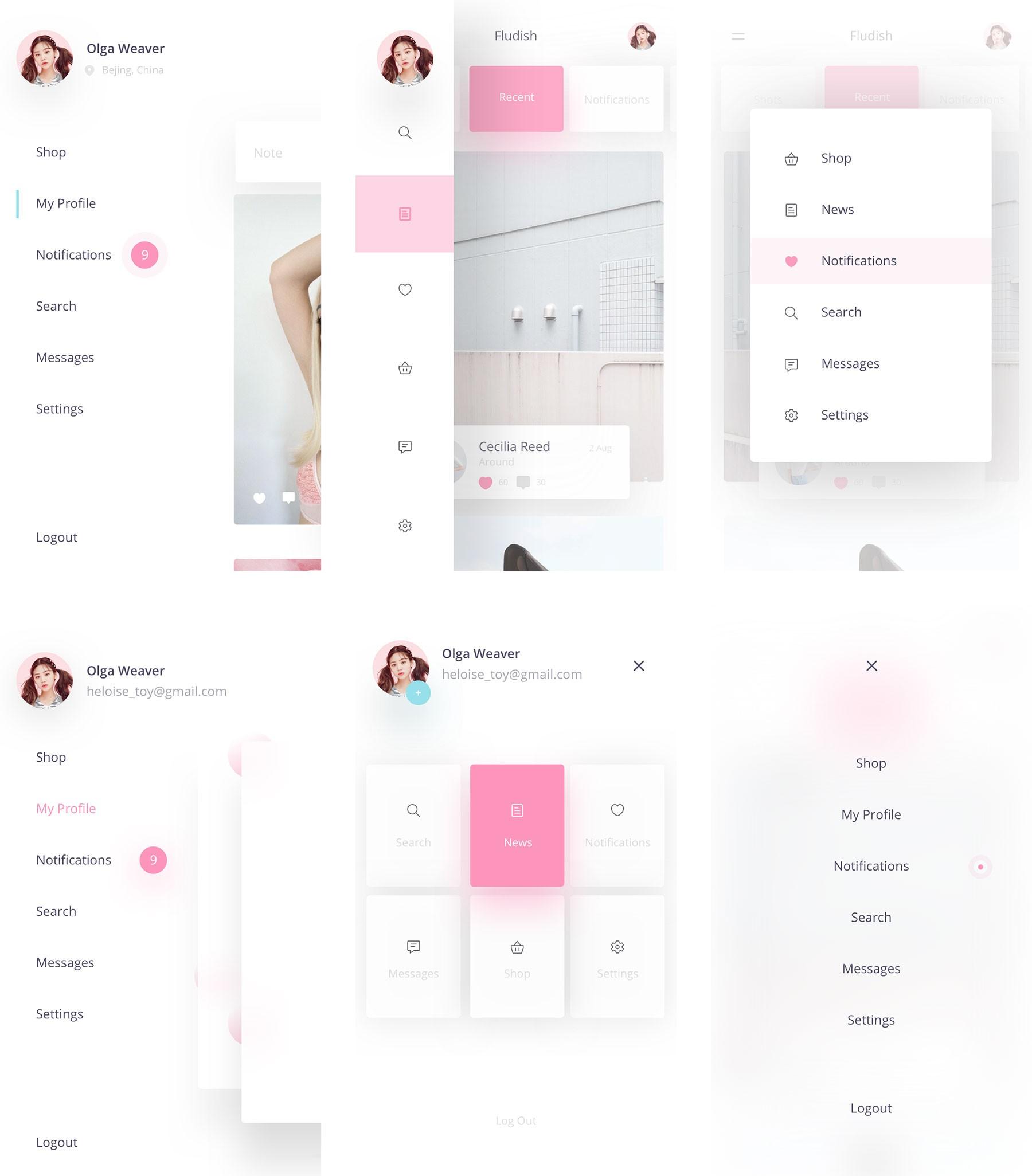个人中心用户菜单栏UI kit,UI资源下载,sketch源文件下载