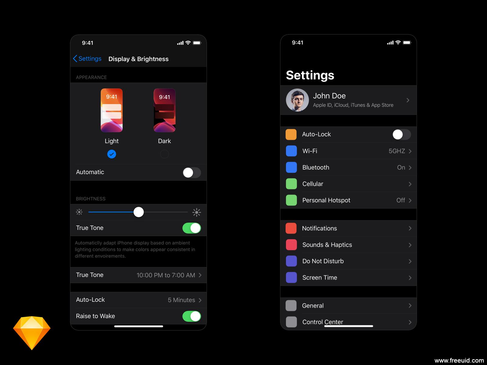 iOS 13 Darkmode,暗黑模式UI资源下载,sketch源文件