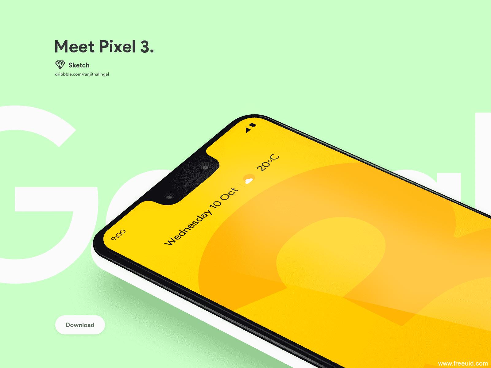 Pixel 3手机模板,UI素材下载,机型模板下载,sketch源文件