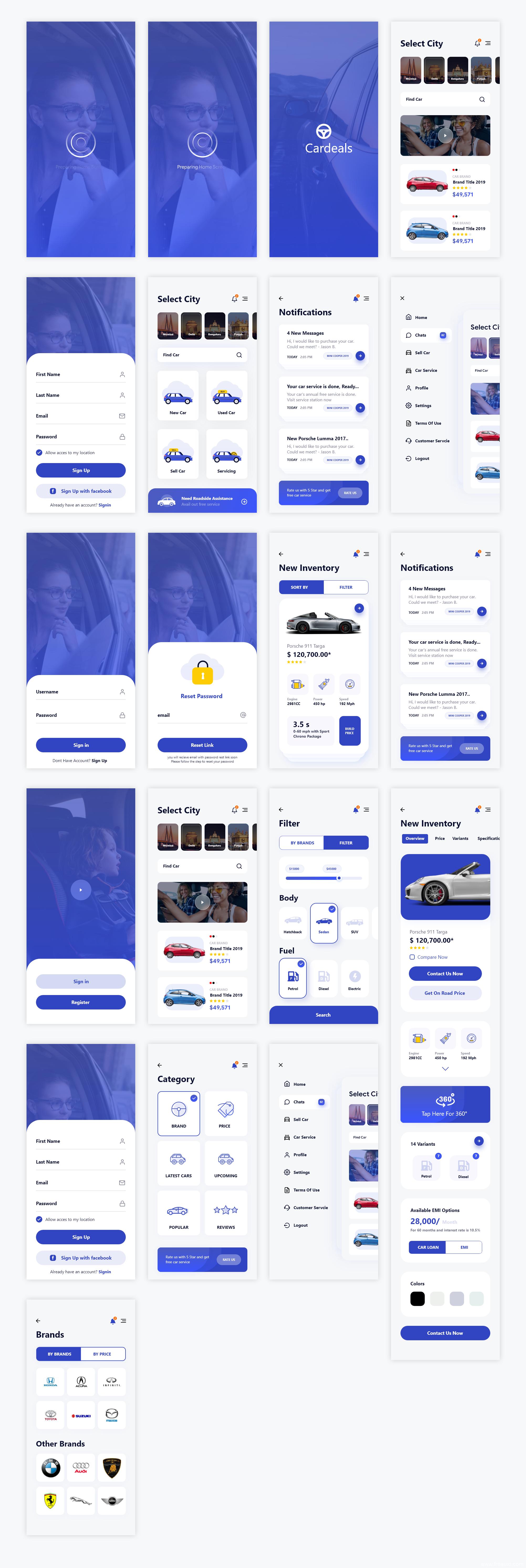 汽车、二手车交易app,UI素材下载,UI资源下载 ui .xd素材下载