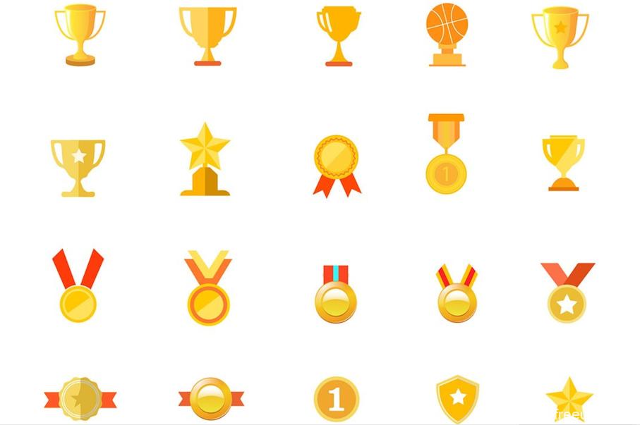 矢量奖杯icon图标,奖杯等级类UI图标源文件,ai源文件,UI资源下载