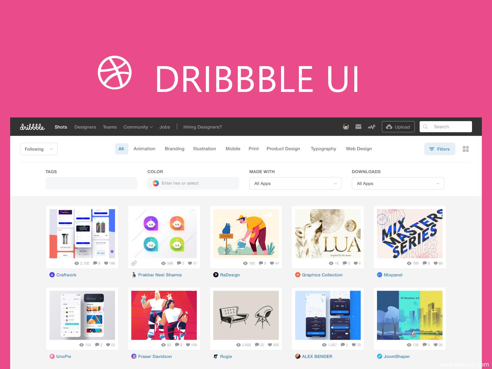 2019最新版dribbble首页设计稿,UI设计源文件,sketch源文件