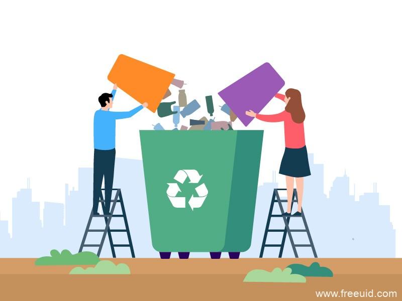 垃圾分类/垃圾回收场景插画ai源文件