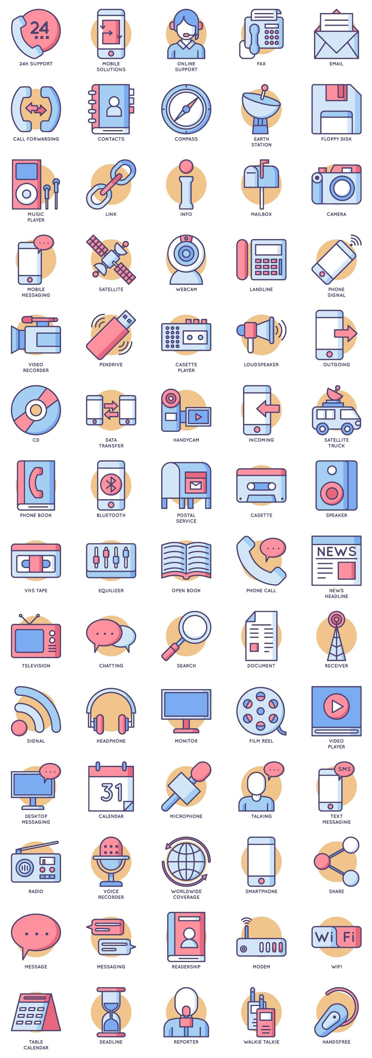 70枚媒体通讯类彩色矢量图标,svg/eps/psd全格式彩色icon下载