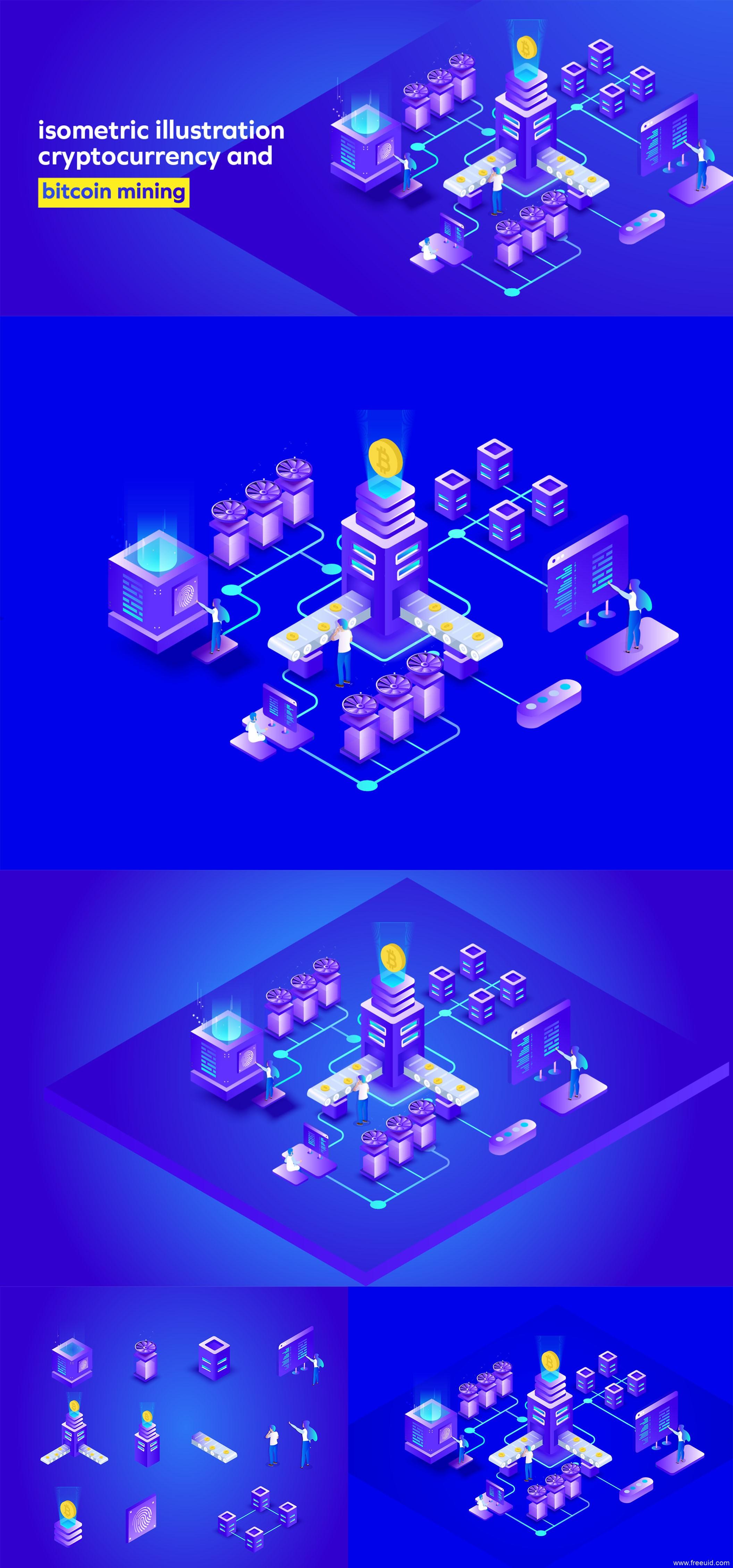 2.5D 数字货币、比特币主题插画 .eps素材下载