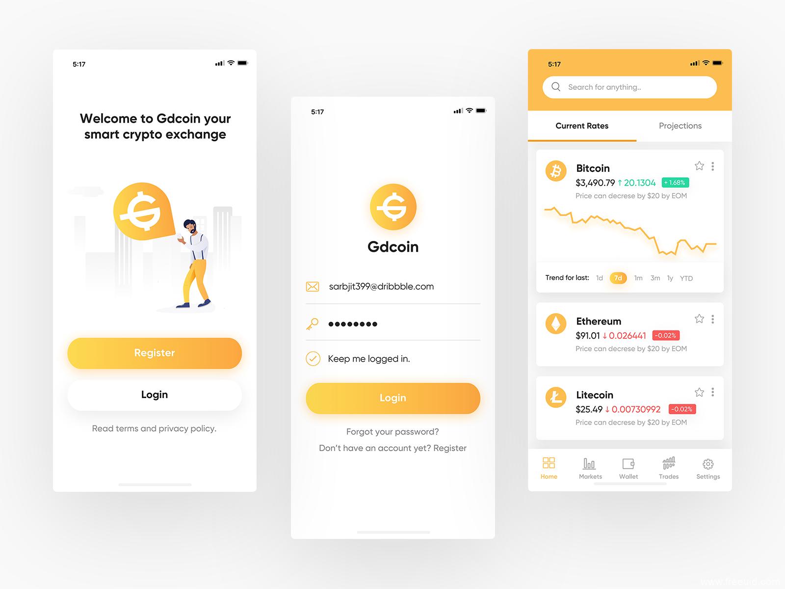 数字货币app ui .sketch下载,UI资源下载
