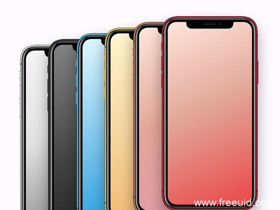 iPhone XR 全色系模型,iphone手机mockup