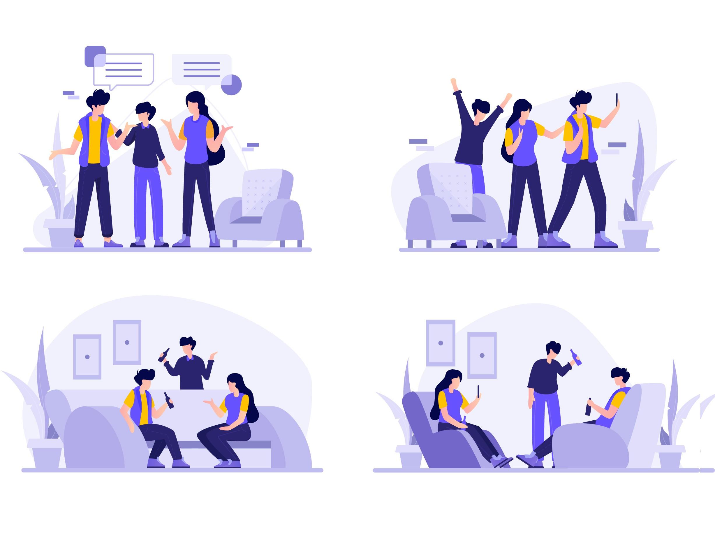 聊天会议场景插画源文件,交流沟通场景插画AI源文件下载