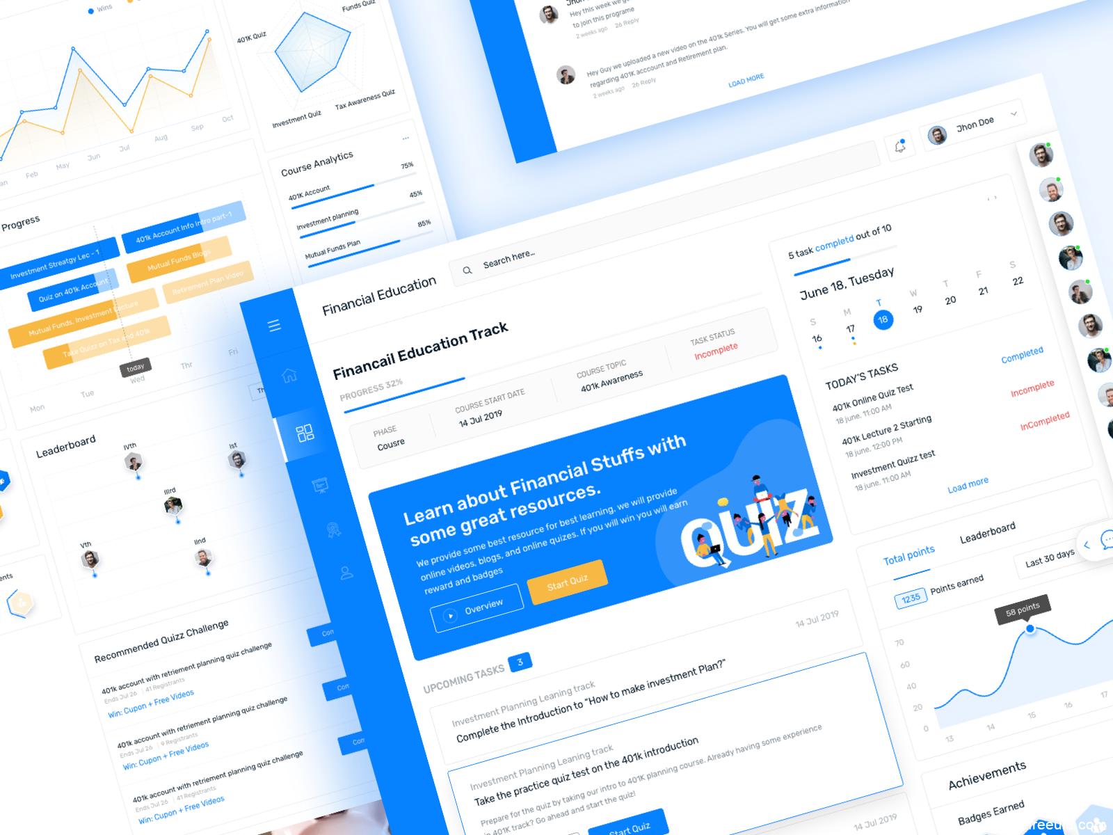 金融类/教育类平台网页UI模板,web UI源文件下载