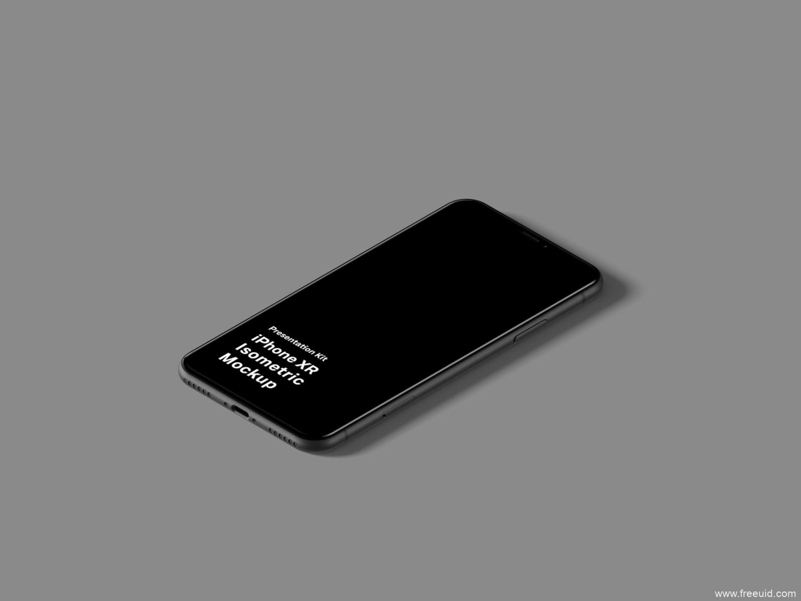 iPhone XR Isometric Mockup 样机 .fig .psd .sketch素材下载