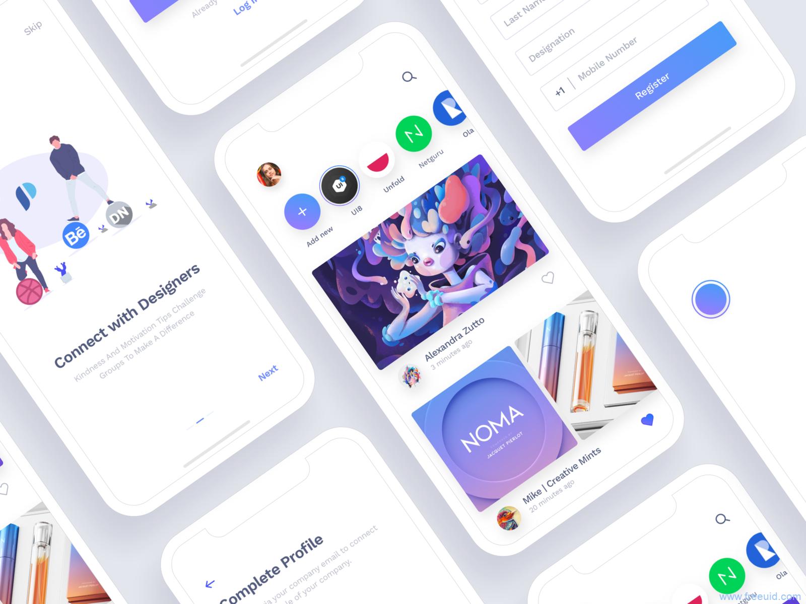 设计师平台设计作品展示app ui kit下载,UI资源下载,UI素材免费下载