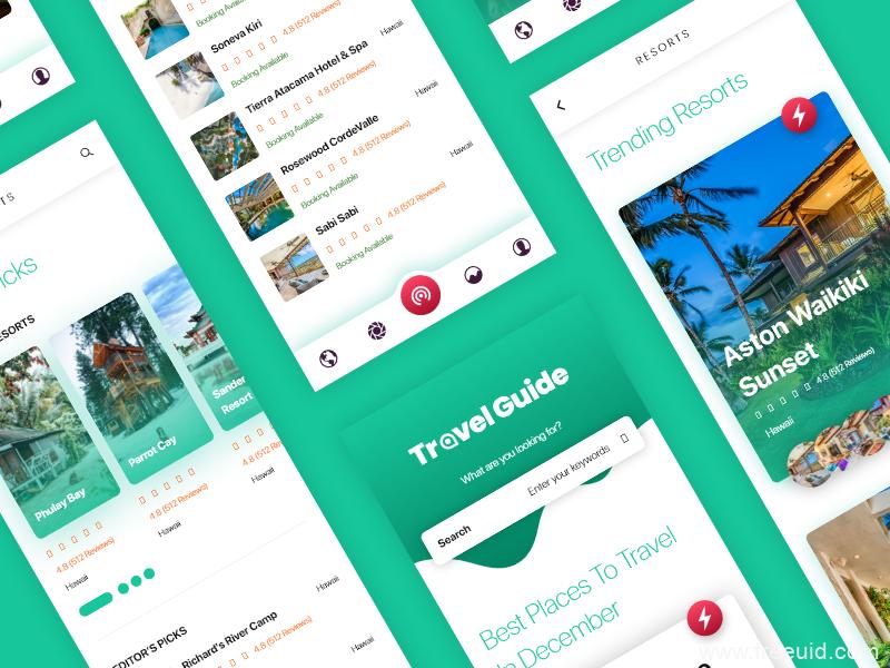 精品成套旅游UI kit素材下载,UI资源下载,UI素材分享