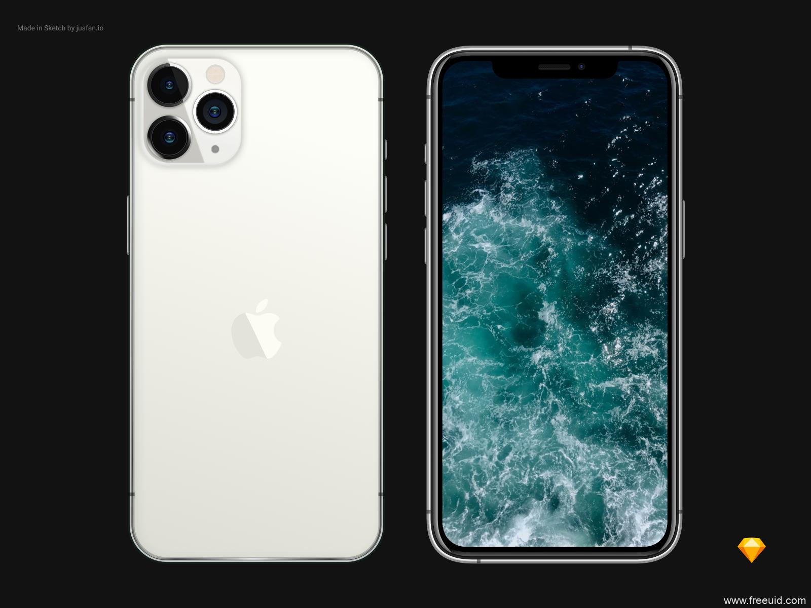 银色iPhone 11 pro mockup .sketch素材下载