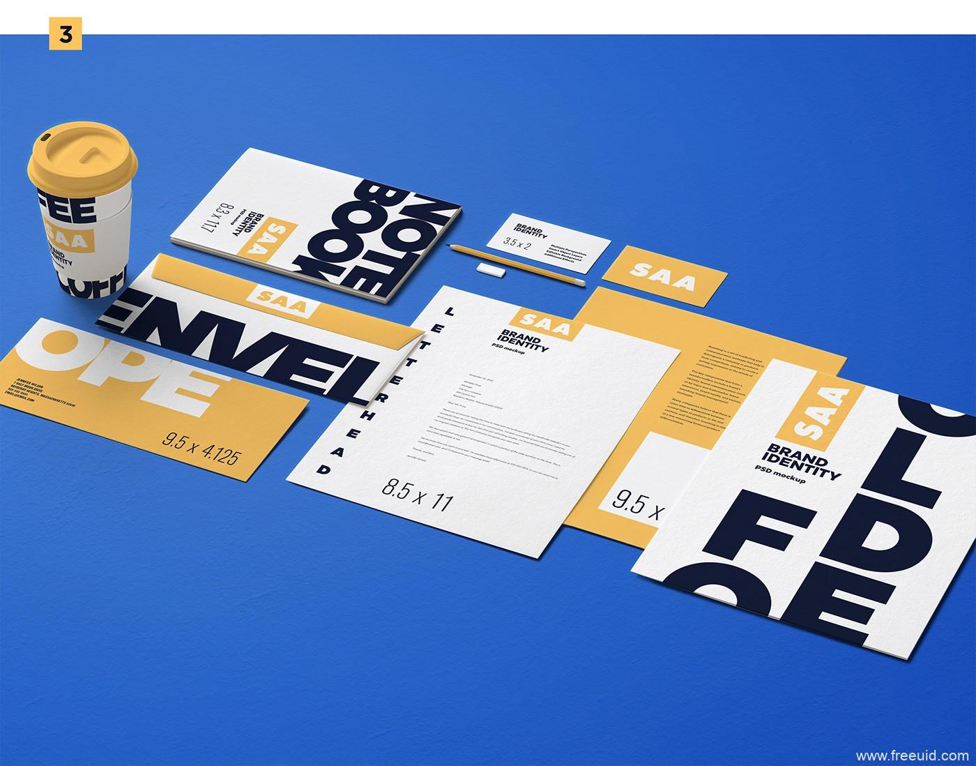 7套精品VI包装模板包psd源文件,平面样机模板
