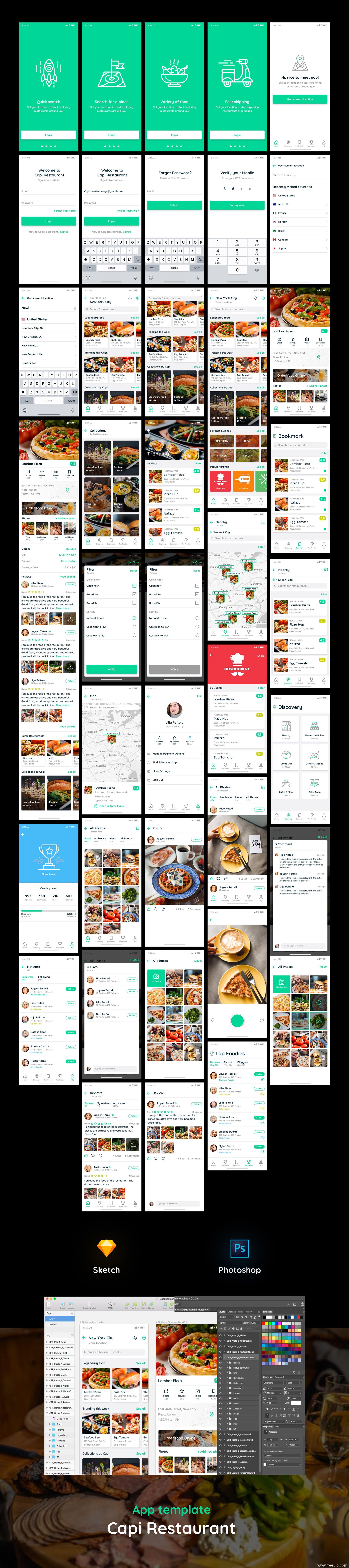 40+页完整美食app ui capi .sketch .xd .psd素材下载