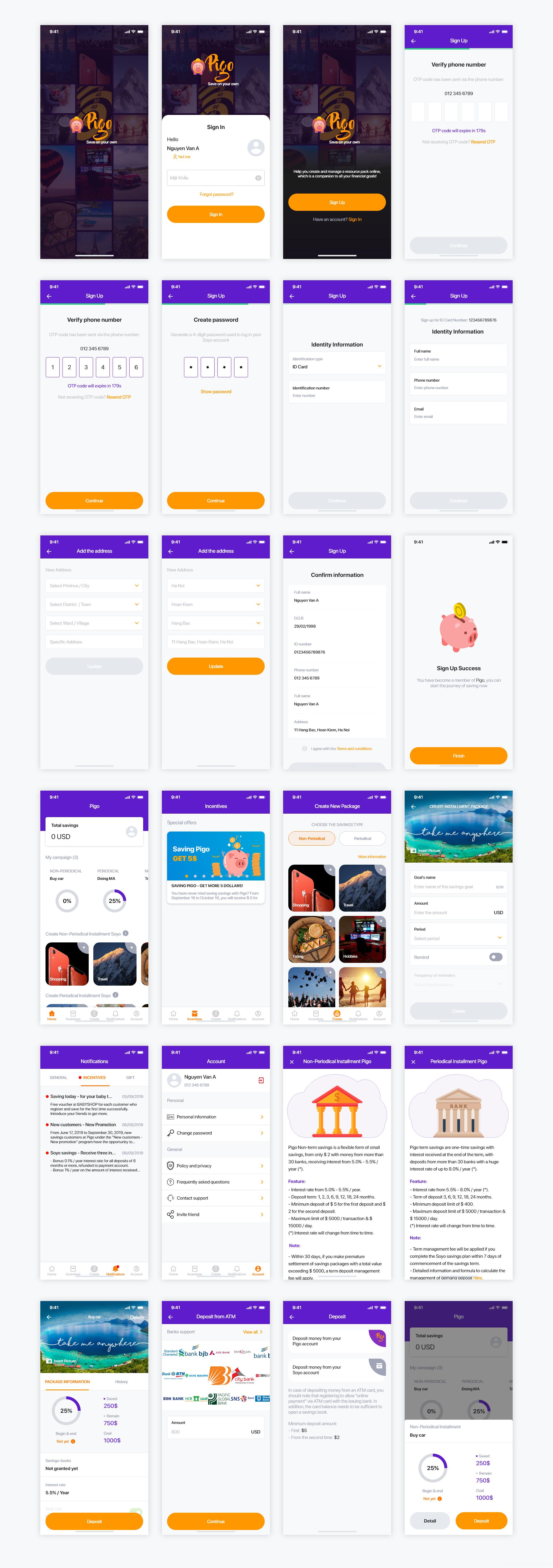 免费个人理财app ui 成套模板 .xd素材下载,UI素材下载,UI资源下载,UI源文件