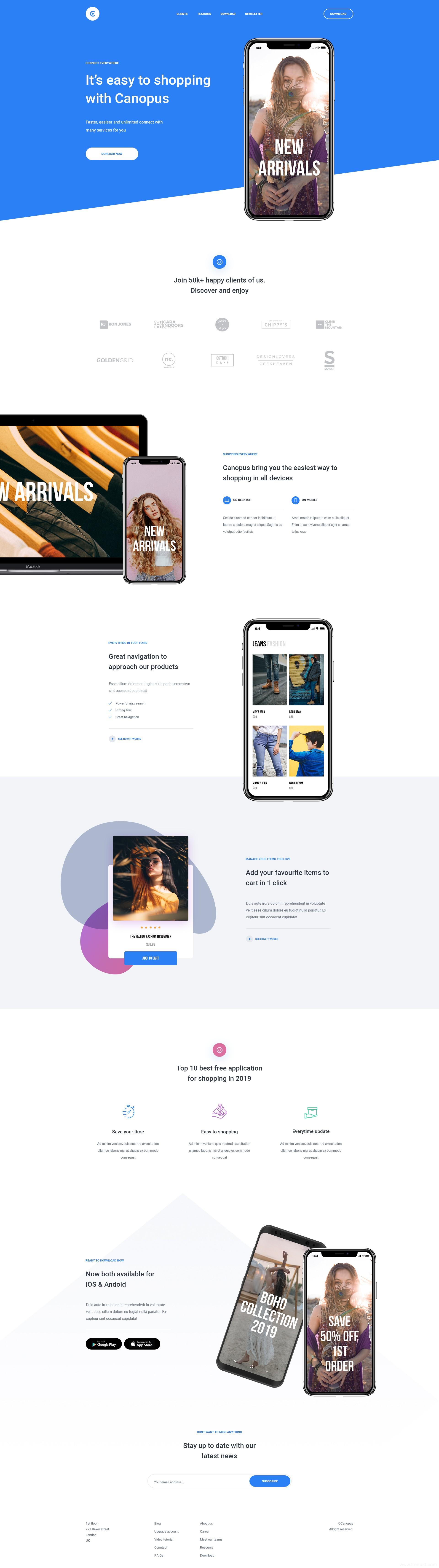 精品app着陆页,landingpage,app落地页UI源文件下载