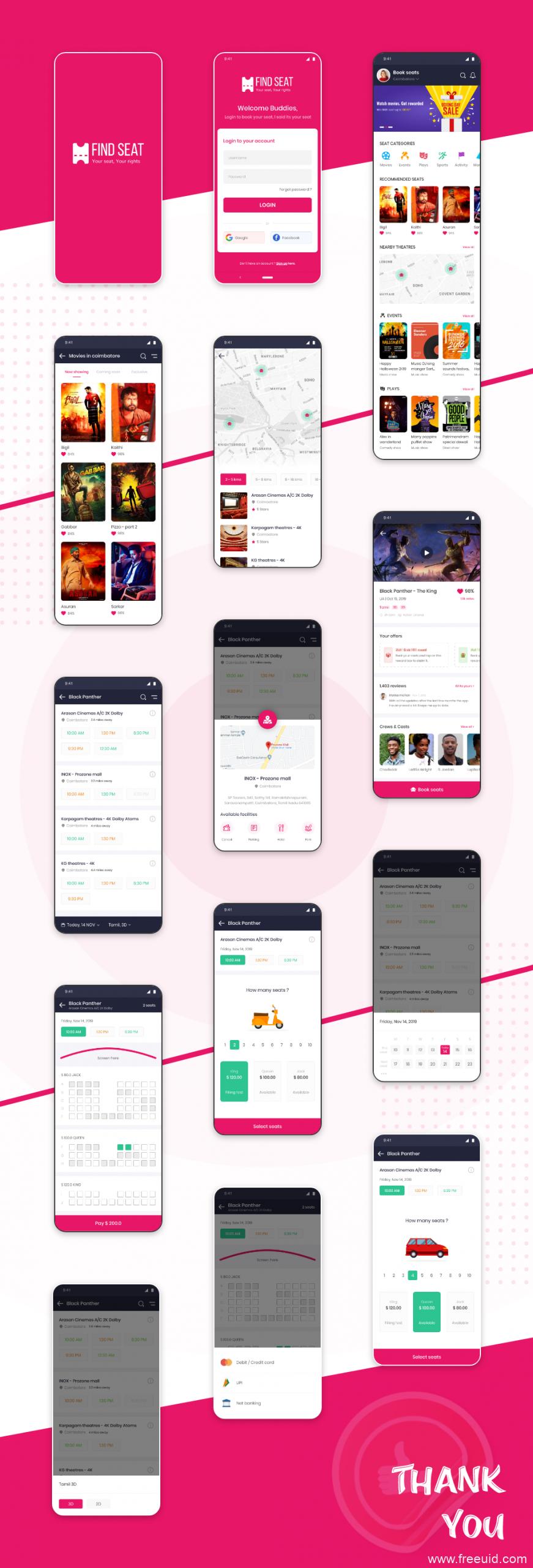 成套电影、演出票务app ui .xd素材下载,UI源文件下载