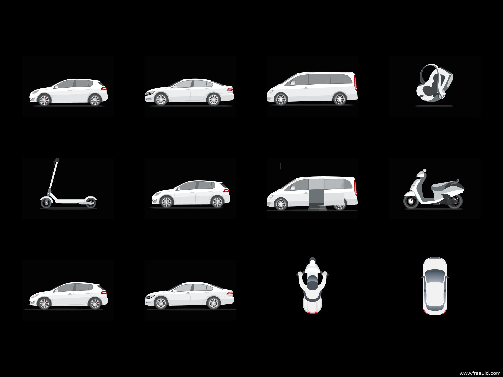 矢量汽车图标icon,免费figma源文件,适合打车类导航类应用