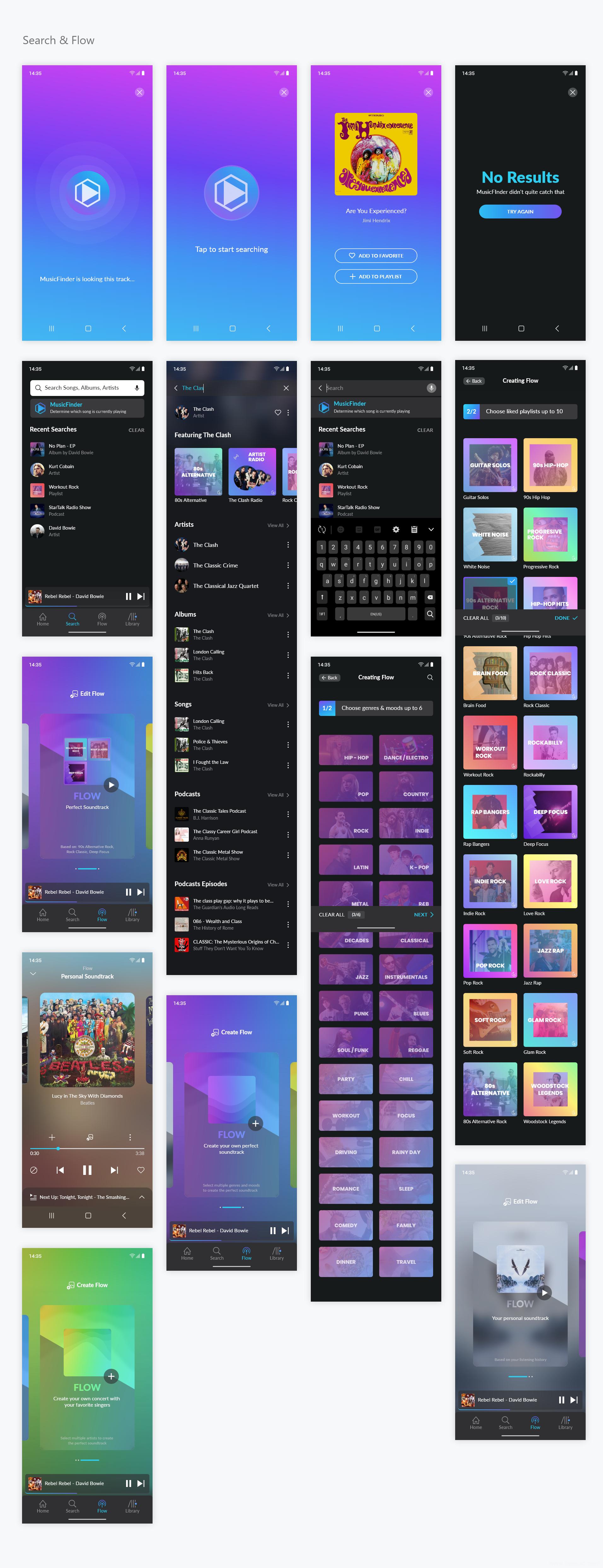 超酷完整成套音乐APP Dark Mode 暗色模式UI源文件,音乐app UI xd源文件