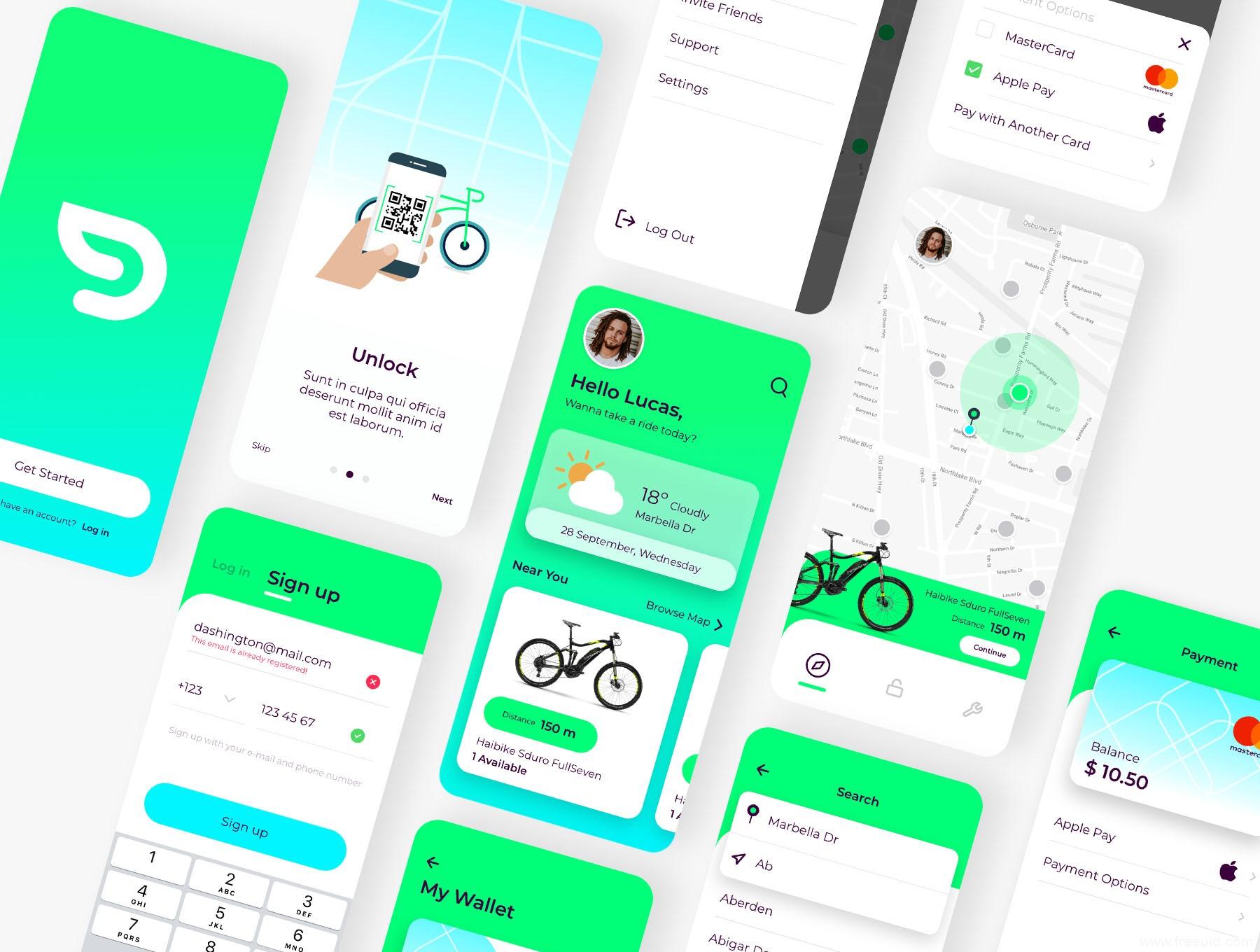 完整共享单车APP UI Kit,共享单车app UI源文件下载,sketch源文件下载