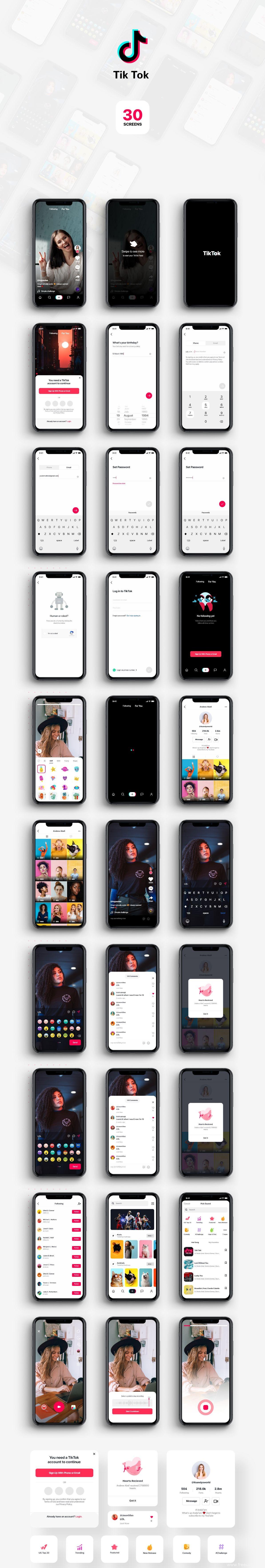 抖音短视频app 国际版Tik Tok 整套UI .xd素材下载