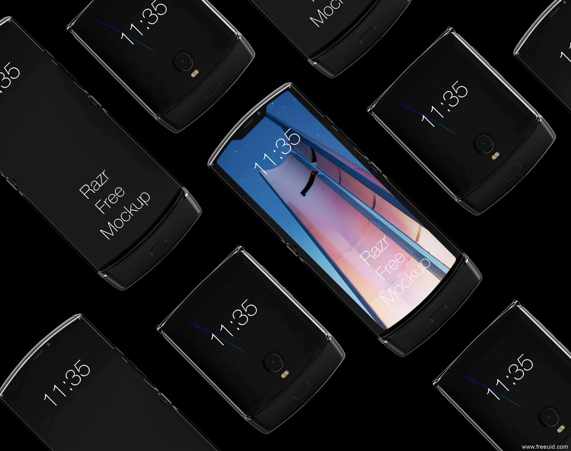 Motorola Razr Mockup,摩托罗拉Razr折叠屏手机样机mockup模板