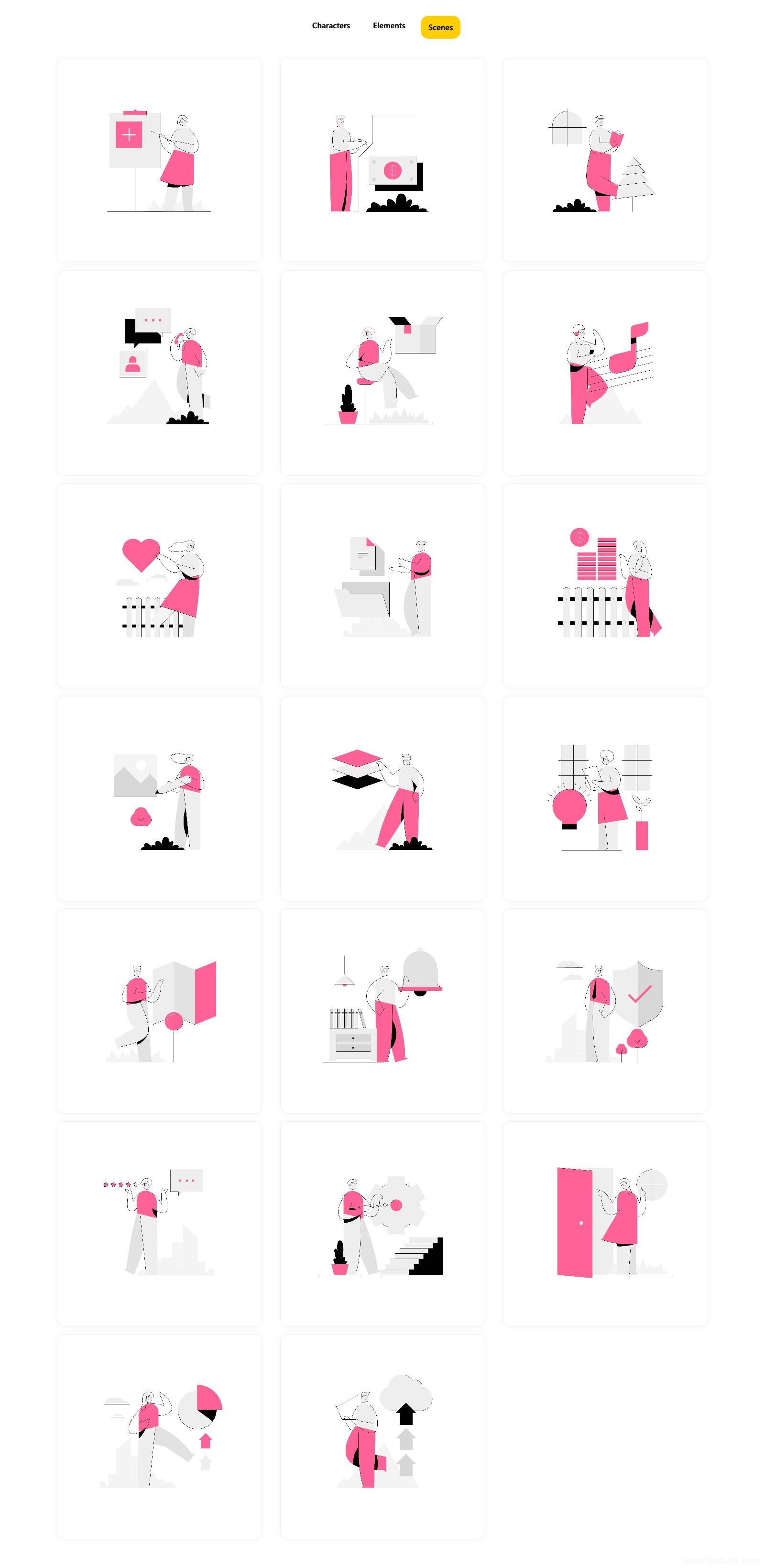 一组线条风格插画组件库,全套 .ai .svg .fig .xd .sketch .png插画素材下载