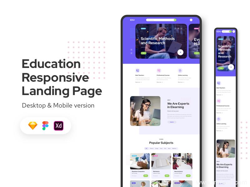 在线教育类响应式网页模板,在线教育招生页UI源文件下载,招生着陆页landing page