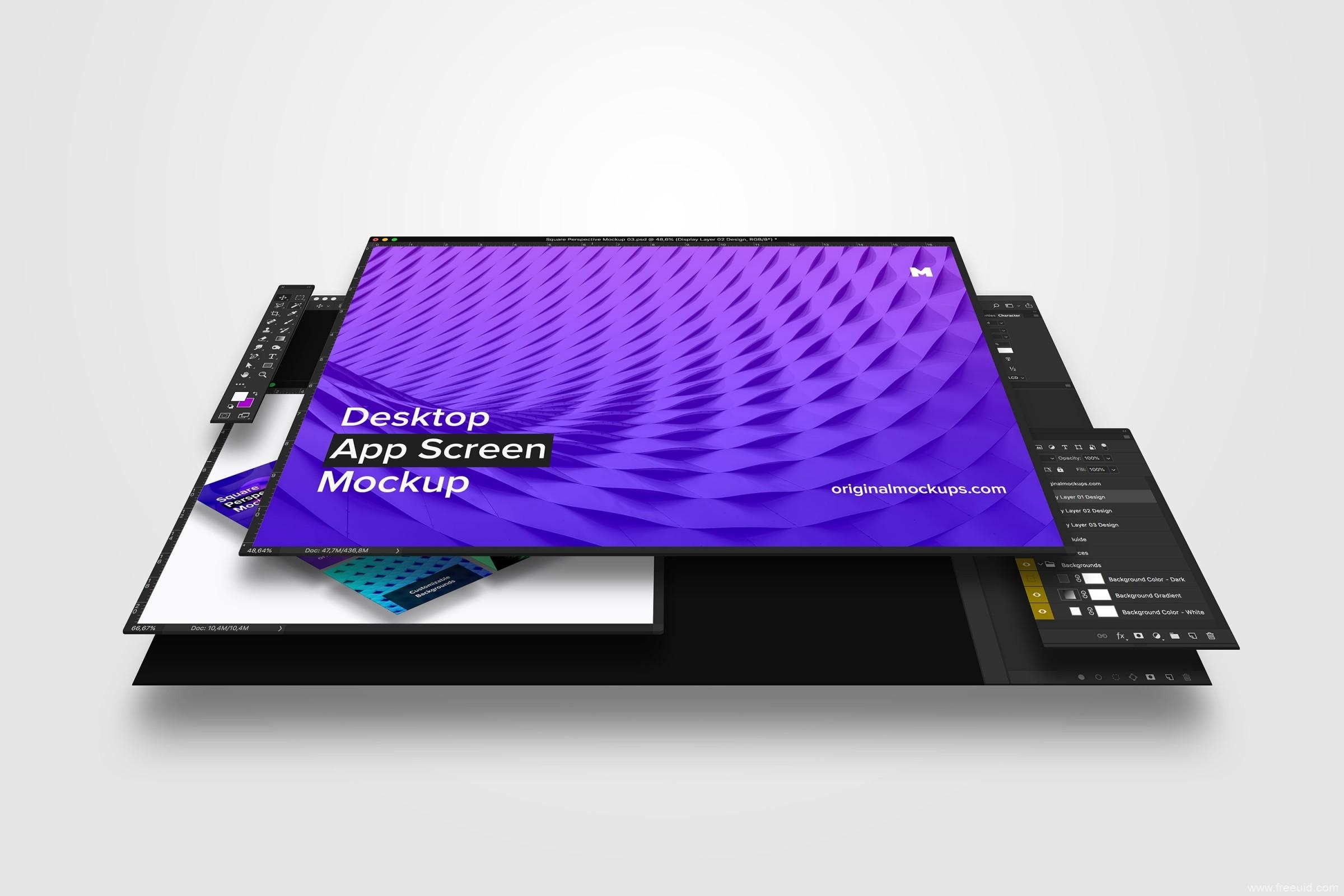 桌面样机mockup,PS应用界面包装样机模板,桌面样机psd源文件