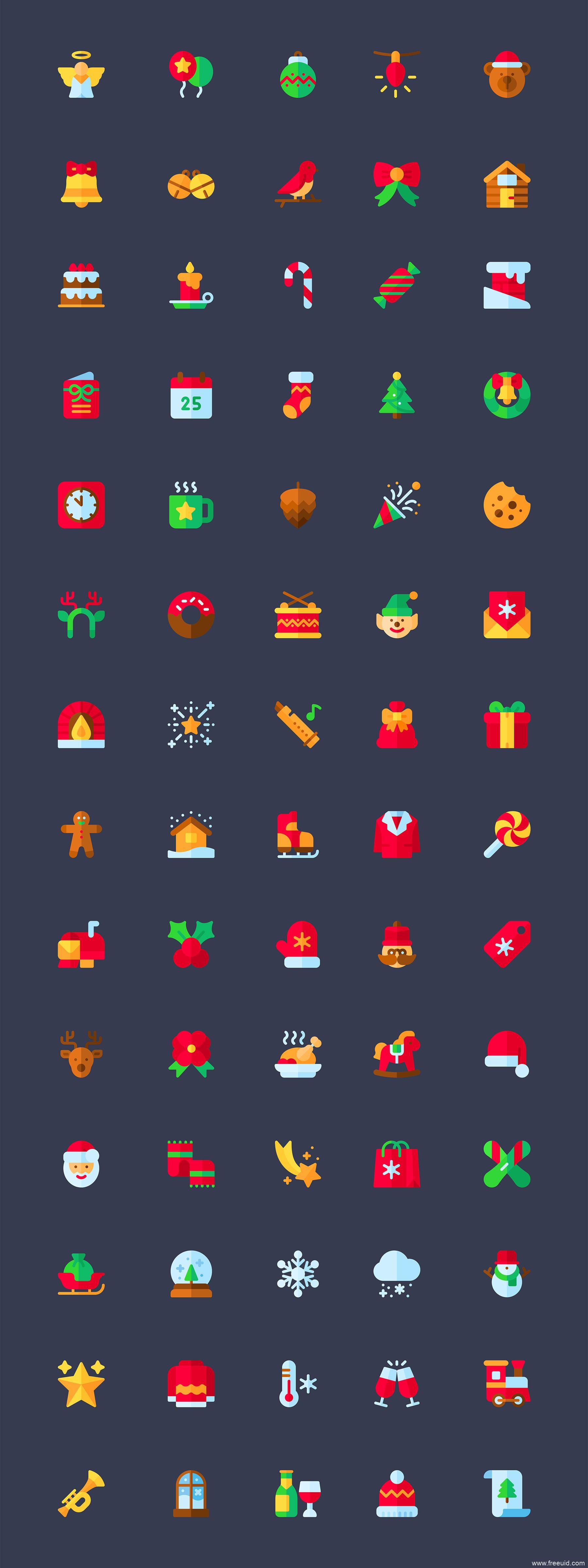 70 枚扁平圣诞节图标、圣诞节元素源文件下载