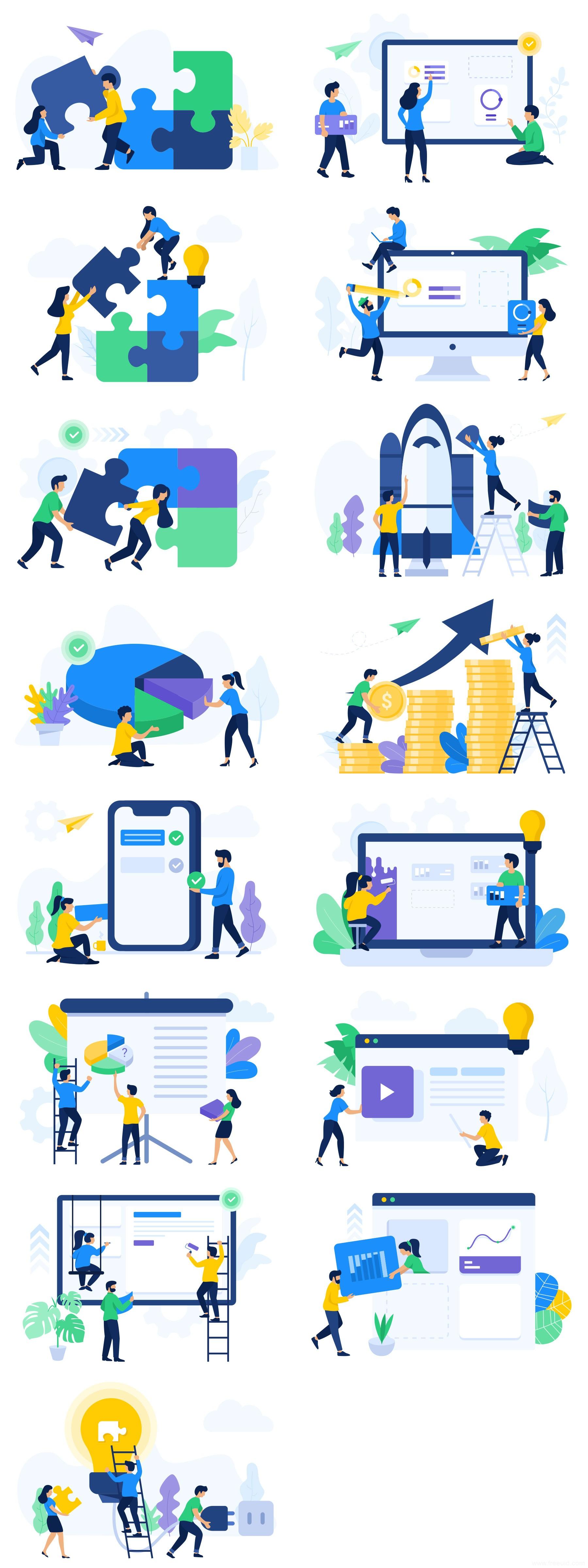 15 张团队协作元素插画,办公插画sketch源文件下载,商务风插画