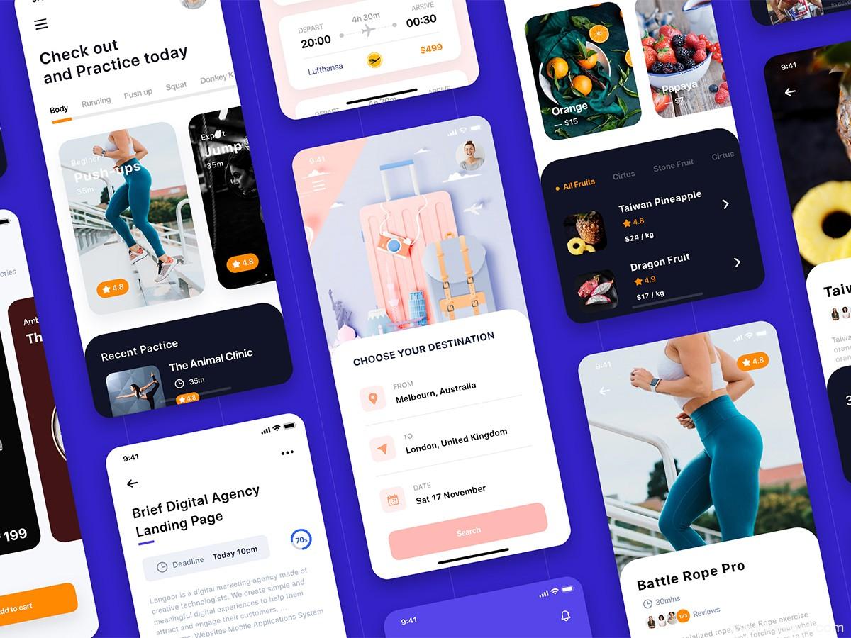 10个卡片样式UI界面源文件下载,Card UI sketch源文件下载