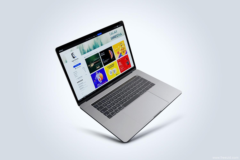 5个不同方向MacBook mockup样机psd模板源文件,MacBook样机源文件