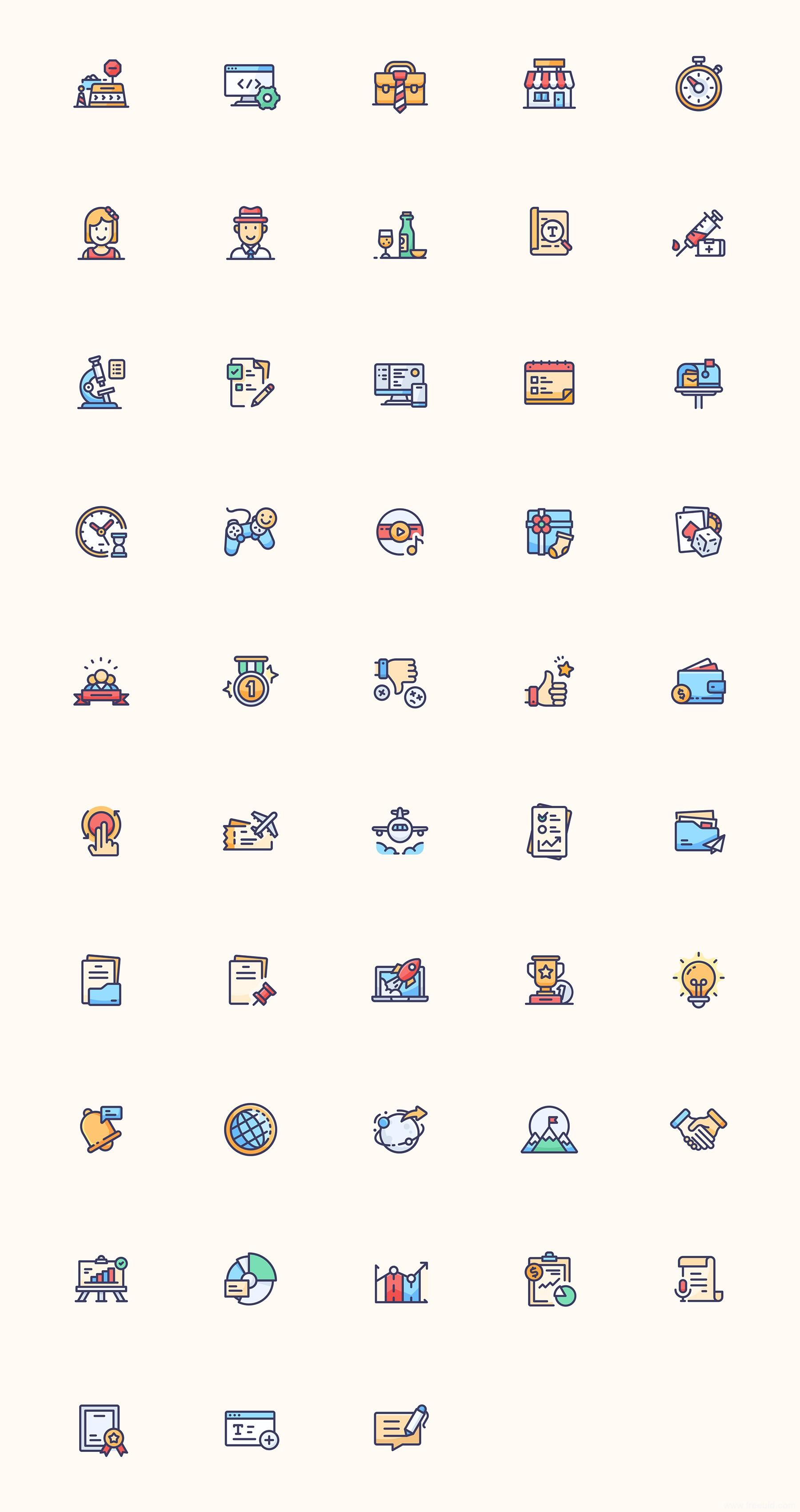 48 彩色商业元素图标、彩色图标、sketch源文件下载