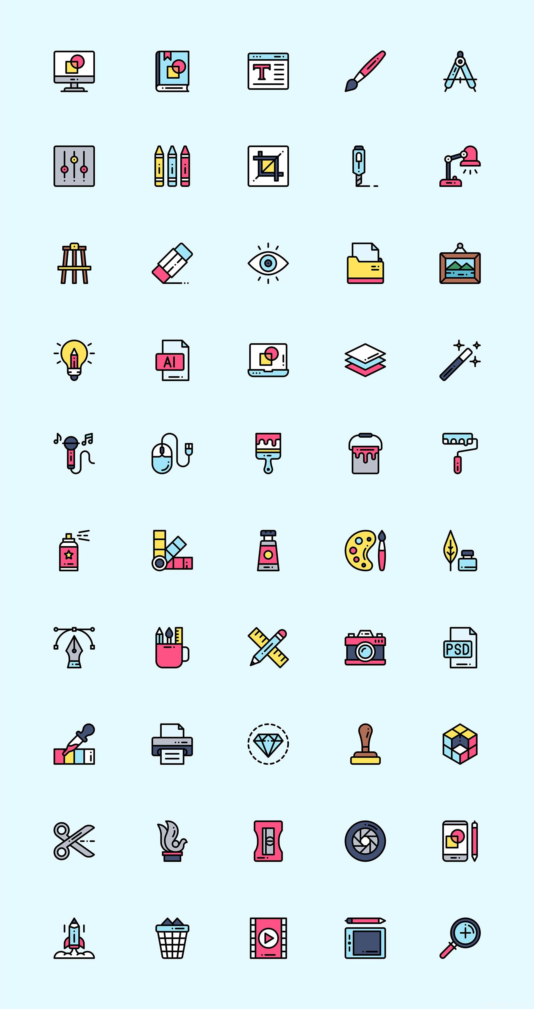 50 枚艺术与设计元素图标