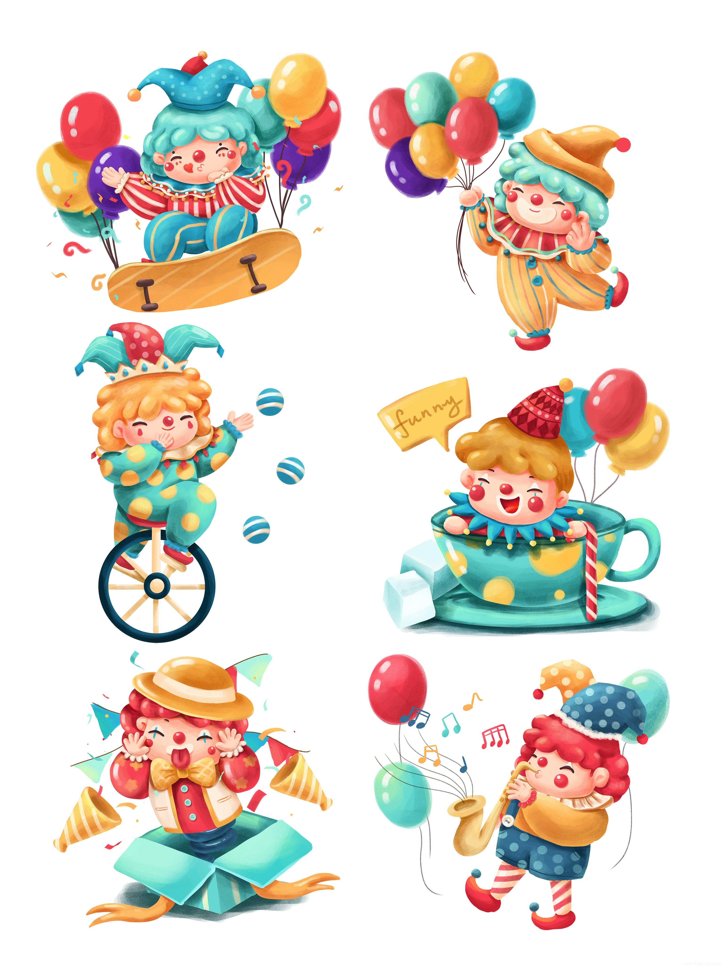 愚人节卡通小丑儿童乐园插画psd源文件下载