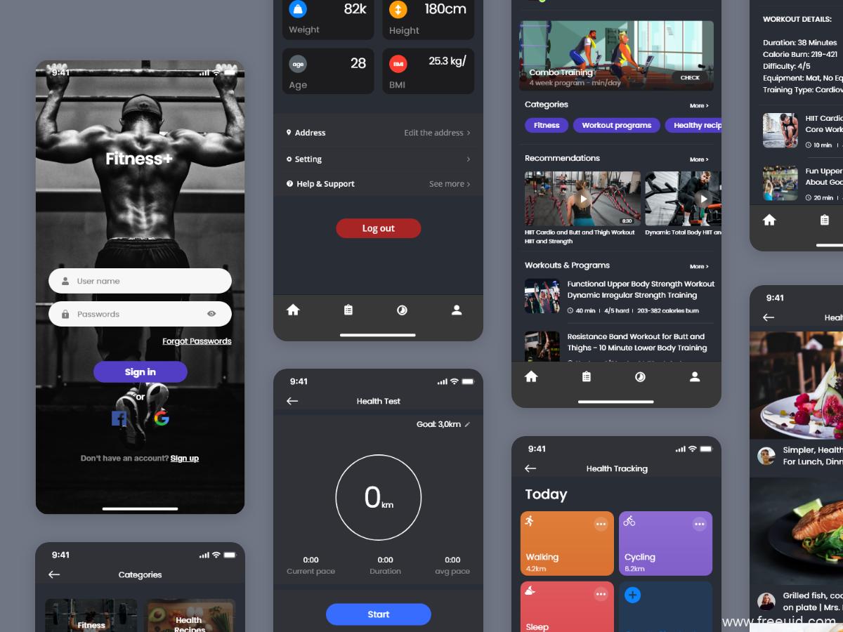 暗色健身APP UI资源下载,dark mode 健身APP源文件下载