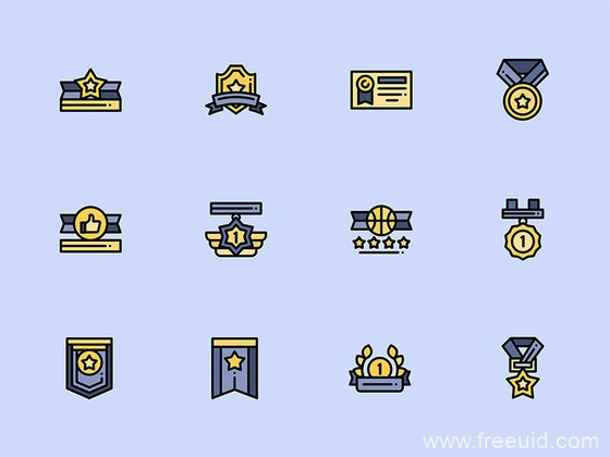 50 枚奖项元素图标,奖励图标,色彩图标,源文件下载