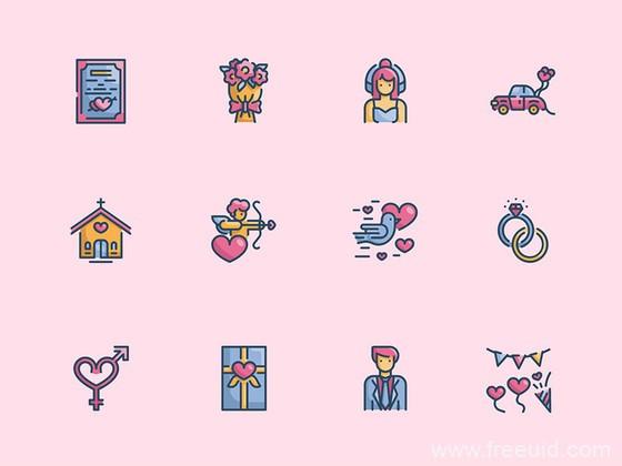 30 枚彩色婚礼元素图标