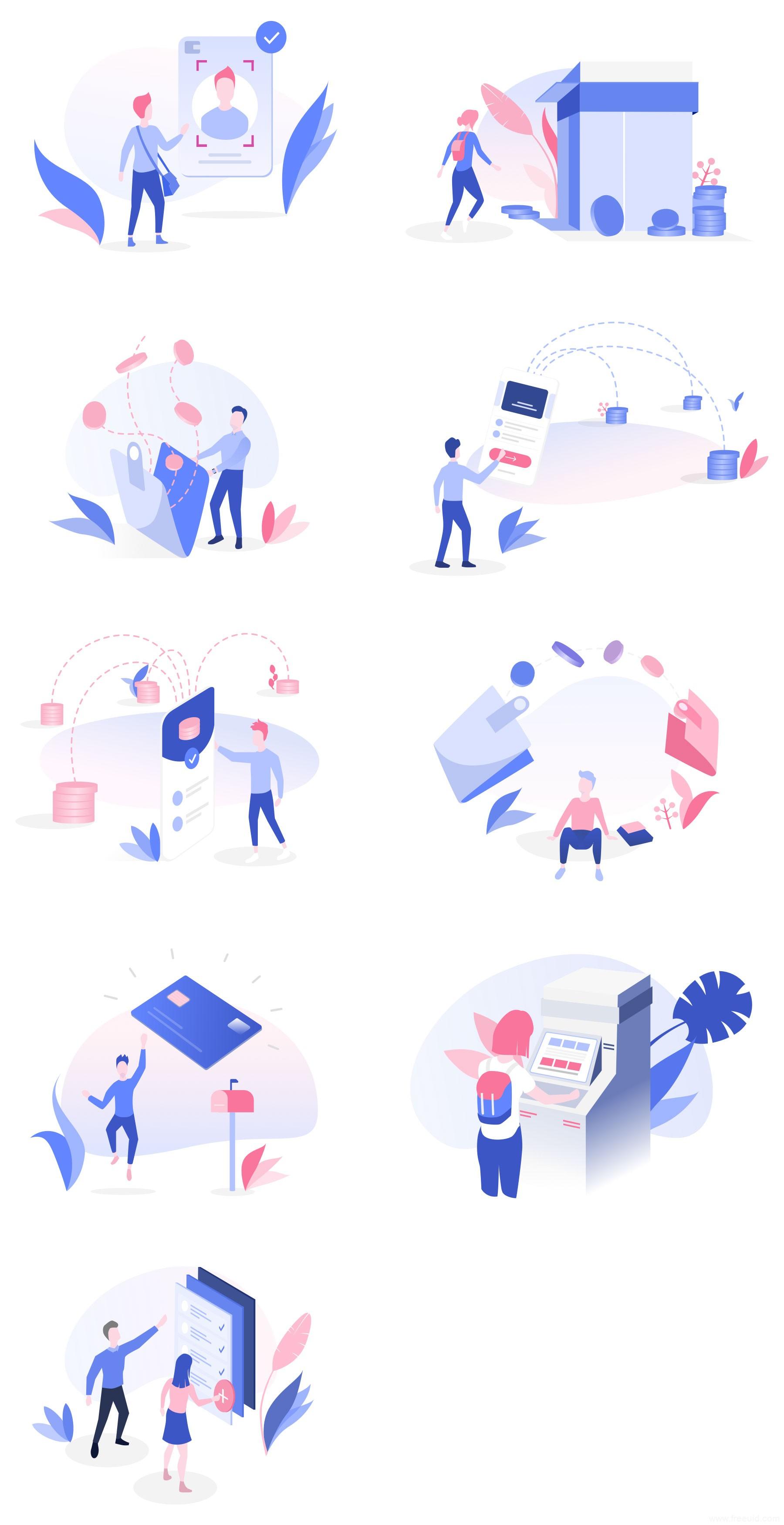 9 张金融安全元素插画,金融插画sketch下载