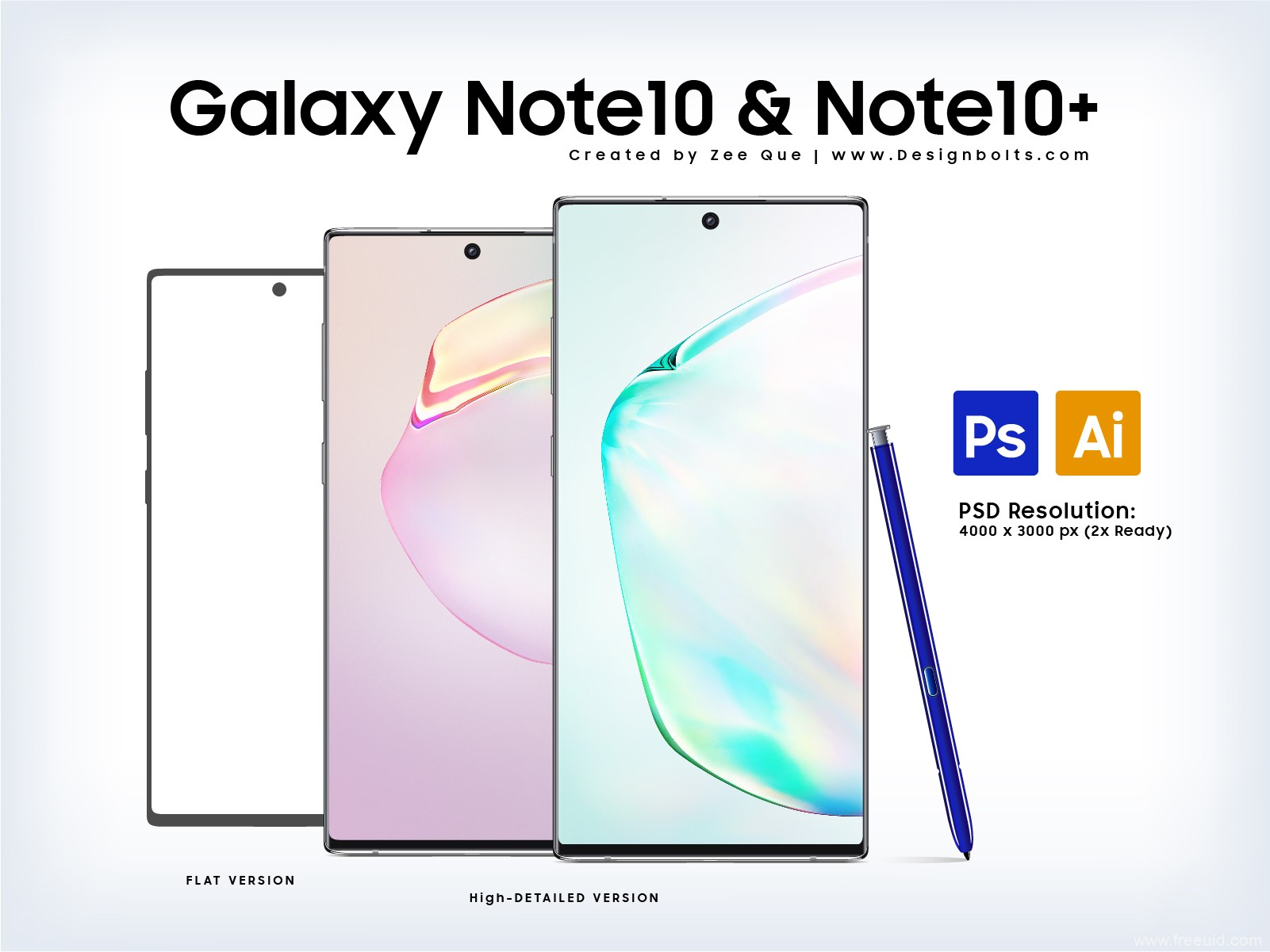 Samsung Galaxy Note10 & Note10+ Mockup PSD & Ai样机模板