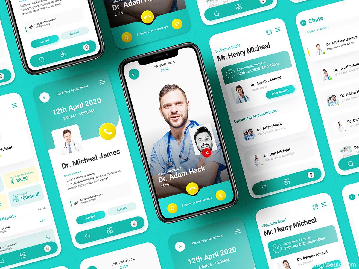 医疗app UI源文件下载,医生患者远程问诊协作app ui .sketch素材下载