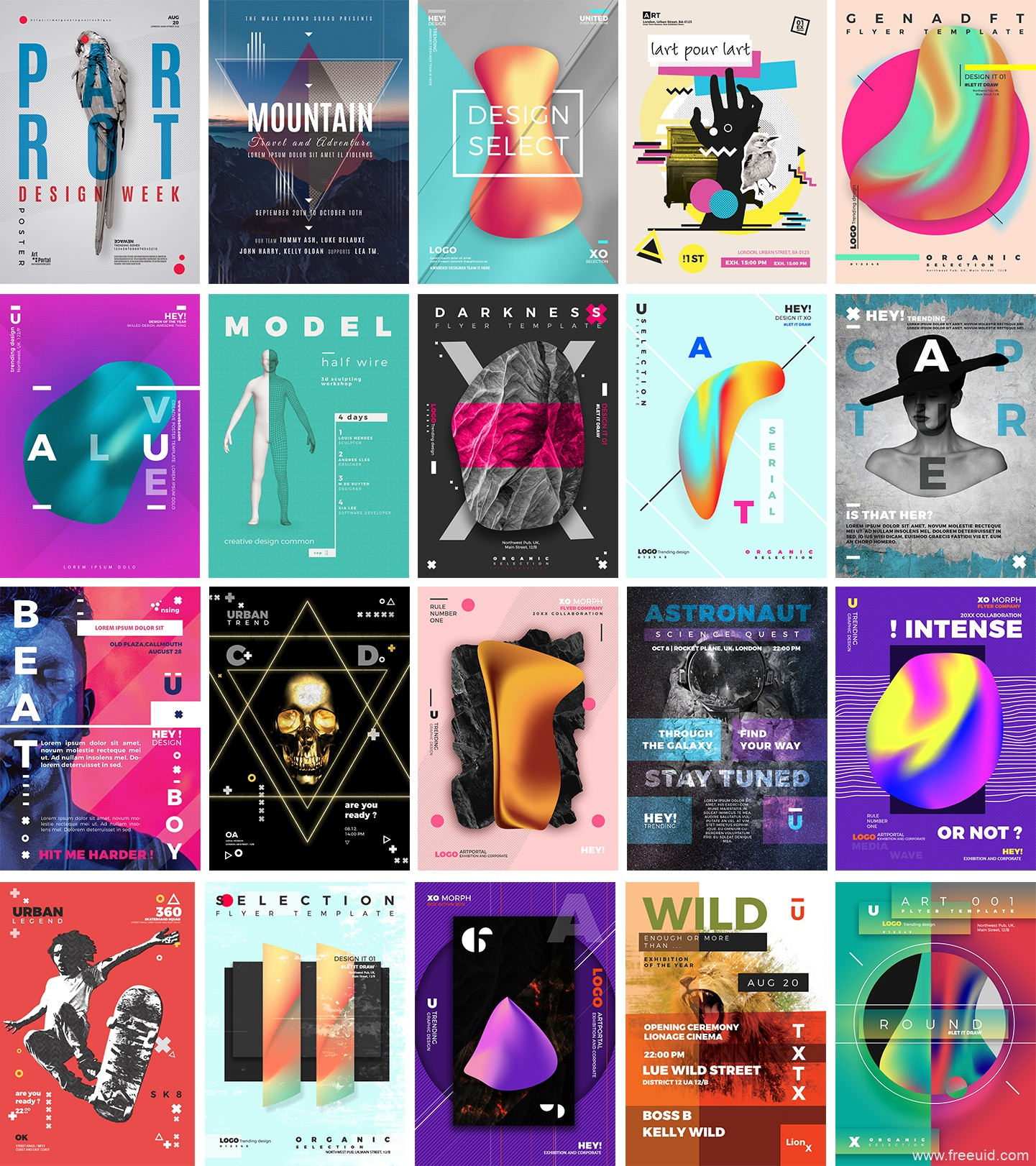20款未来梦幻抽象科技感海报PSD源文件附带英文字体下载