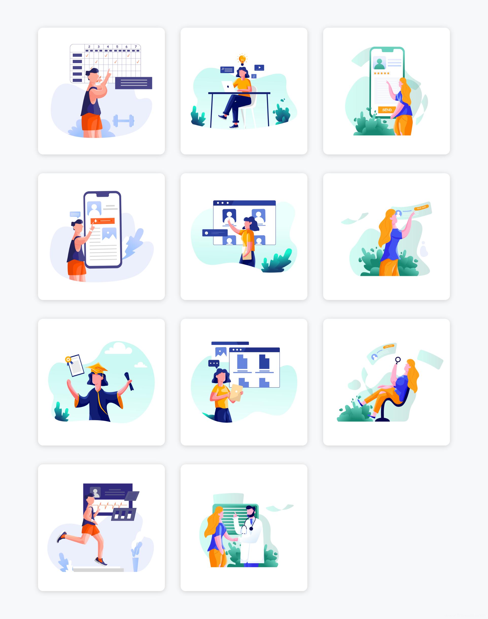 一组在涵盖线教育插画、金融插画、医疗插画类等商务场景运营插画AI源文件下载