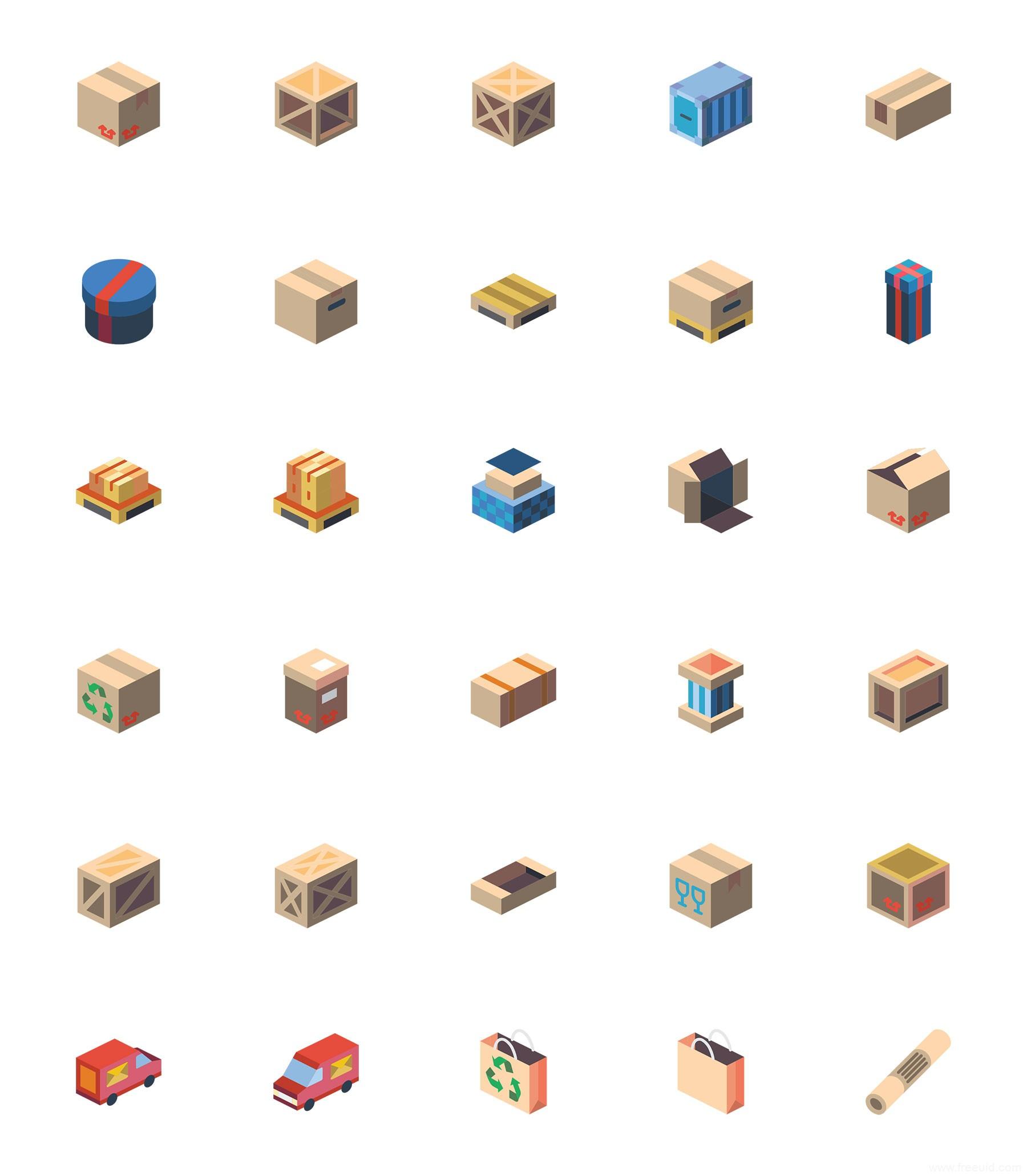 30 枚打包和运输轴测图标,彩色2.5D图标、sketch源文件下载