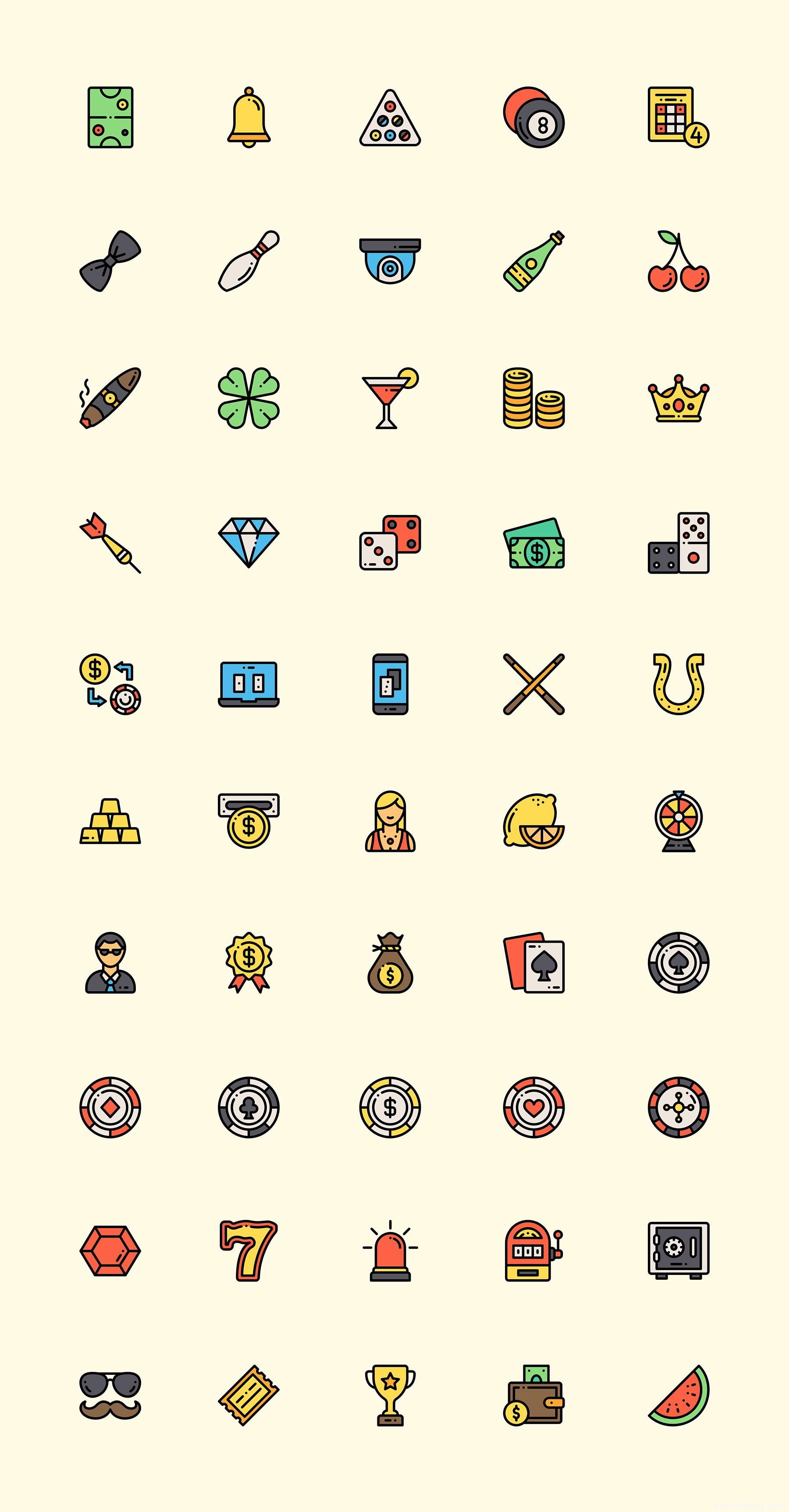 50 枚彩色棋牌游戏元素图标、彩色图标、sketch源文件下载