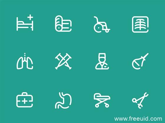 50 枚医院元素图标、单色图标源文件下载