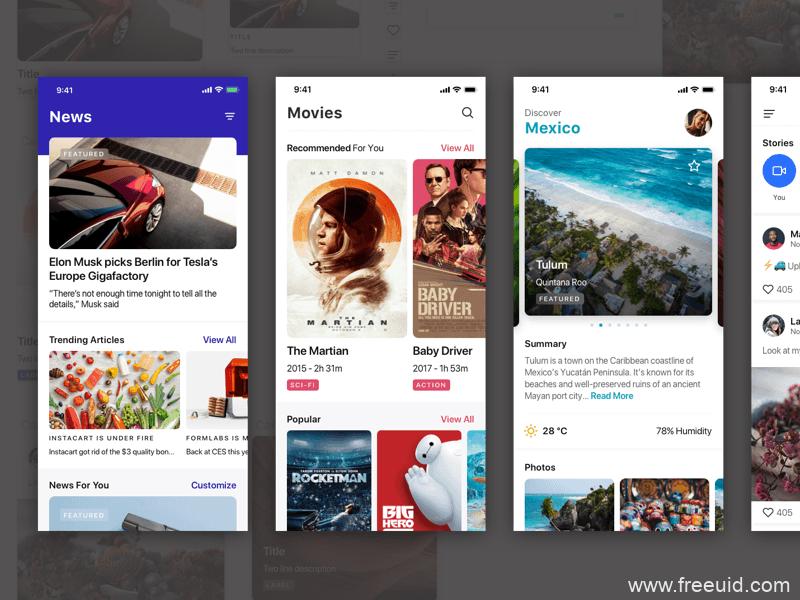 影视应用系统UI界面、影视app界面sketch源文件下载