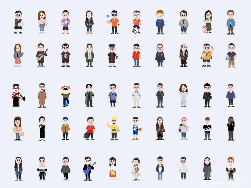 100套矢量人物形象插画、商务人物插画sketch源文件下载